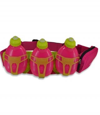 Profesjonalny pas biegowy z 3 butelkami i saszetką, H3O Helium, pojemność: 600ml - Pink/Green