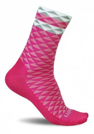 Profesjonalne skarpety kolarskie ASYMMETRIC PINK - wysokie, oddychające - Asymmetric Pink