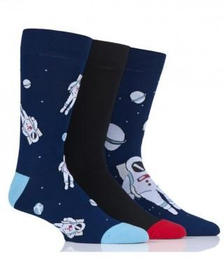 Męskie kolorowe skarpety Wild Feet - KOSMONAUTA, gwiazdy, planety, kosmos - 3 pary !!! - S5012 - Kosmonauta