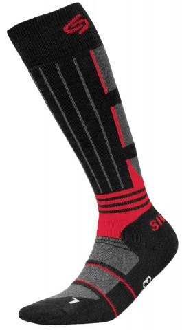 Skarpety narciarkie dla dzieci JJW Ski deodorant antybakteryjne - czarny i czerwony