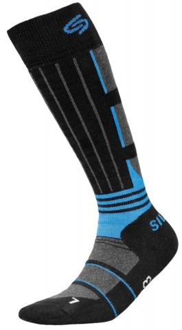 Skarpety narciarkie dla dzieci JJW Ski deodorant antybakteryjne - czarny i niebieski