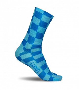 Kolorowe skarpety rowerowe SQUARES BLUE - niebiesko, szachownica - Squares Blue