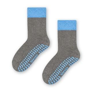Skarpety Antypoślizgowe dziecięce z ABS 3-8 lat - niebiesko-szary