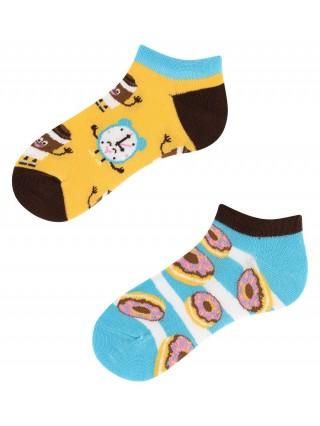 Stopki, Donut Heaven Kids Low, Todo Socks, Kawa, Pączki, Kolorowe Dziecięce  - Coffee Time Kids Low