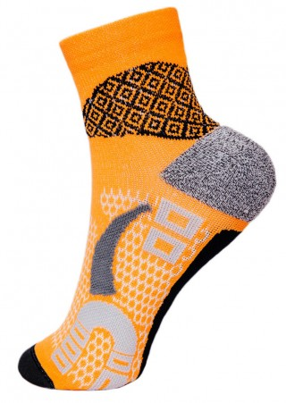 Skarpety sportowe RUNNING RAID oddychające, płaskie szwy, pomarańczowe - pomarańczowy