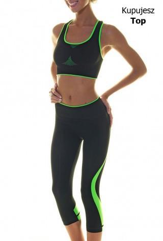 Sportowy Top Damski - Fitness, Cross Fit, Bieganie. - czarno-zielony