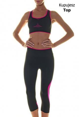 Sportowy Top Damski - Fitness, Cross Fit, Bieganie. - czarno-różowy