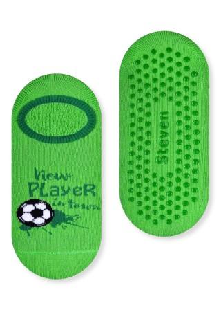 Chłopięce stopki frotte ANTYPOŚLIZGOWE- FOOTBALL wzór z piłką nożną - zielony
